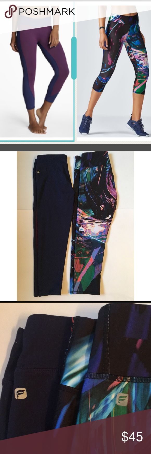 BUNDLE OF 2 - Fabletics Cropped Leggings Bundle of 2 Fabletics Cropped Leggings/Capris.  The patterned one is the Salar and the purple color block one is the Sydney.  Both are size Small, but the rip tag is only attached to the Salars.  Both high-quality & not see- through!  The Salars only worn once (I am a boring black leggings kind of girl) & the Sydneys in great used condition.  See pictures for measurements.  You will get both pairs of these leggings with your purchase. Fabletics Pants…