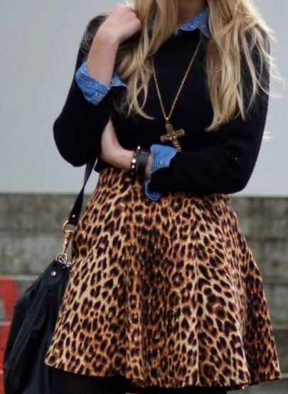 Leo Skirt Meets Jeansblouse  #Denim And Leo Mixes #Leopard Mini Skirt #Chambray Shirt
