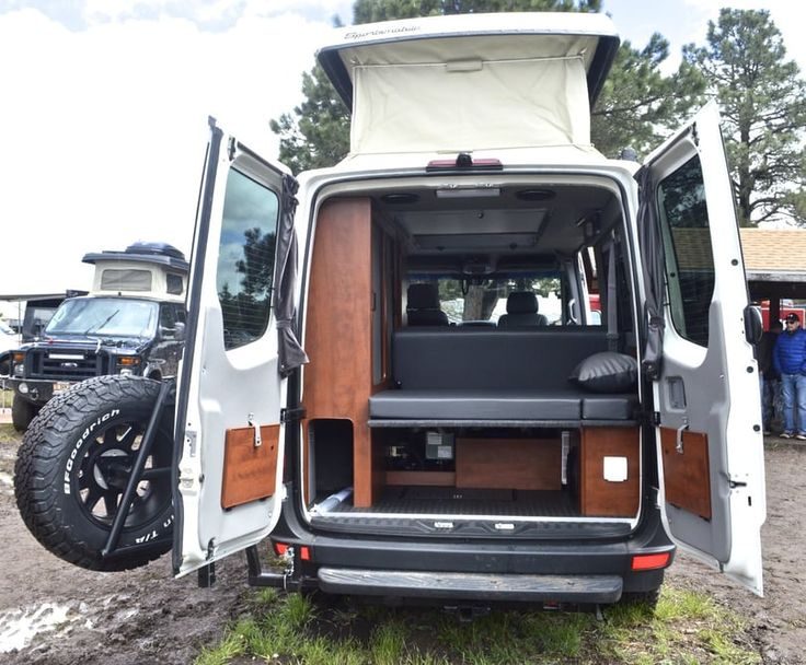 A look in the rear of the Sprinter 4x4 camper van