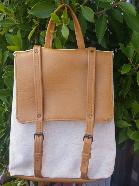 Nude backpack from brown vegan leather and linen, light brown backpack with linen, foldover minimal backpack, chic backpack, hipster backpac