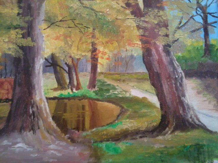 Autumn reflections oil on canvas