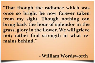 """That though the radiance which was once so bright be now forever taken from my sight. Though nothing can bring back the hour of splendour in the grass, glory in the flower. We will grieve not; rather find strength in what remains behind."" – William Wordsworth"