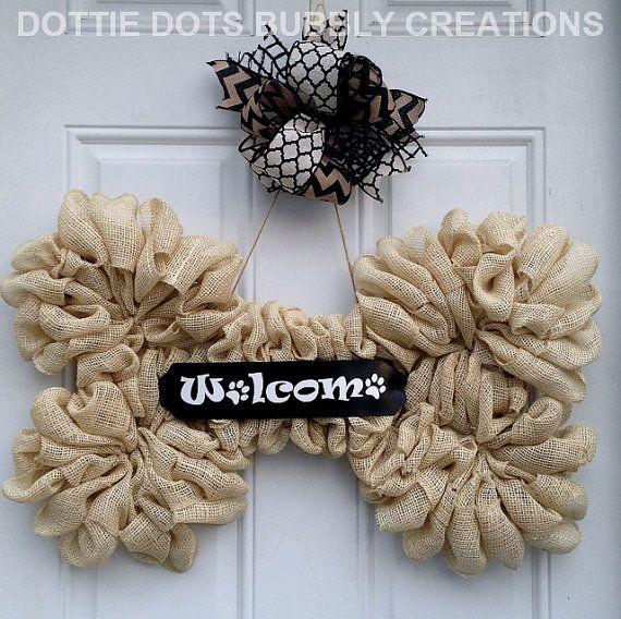 Burlap Welcome Paw Prints Dog Bone Wreath by dottiedot05 on Etsy