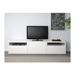 BESTÅ TV unit, white, Selsviken high-gloss/white - white/Selsviken high-gloss/white - 180x40x38 cm - drawer runner, push-open - IKEA