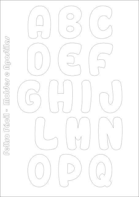 Molde de Letras do Alfabeto em Feltro! Para fazer o download de mais modelos, clique na foto e acesse o site alfabeto em feltro, felt alphabet, felt letter, felt names, letras em feltro, molde do alfabeto, nomes em feltro More