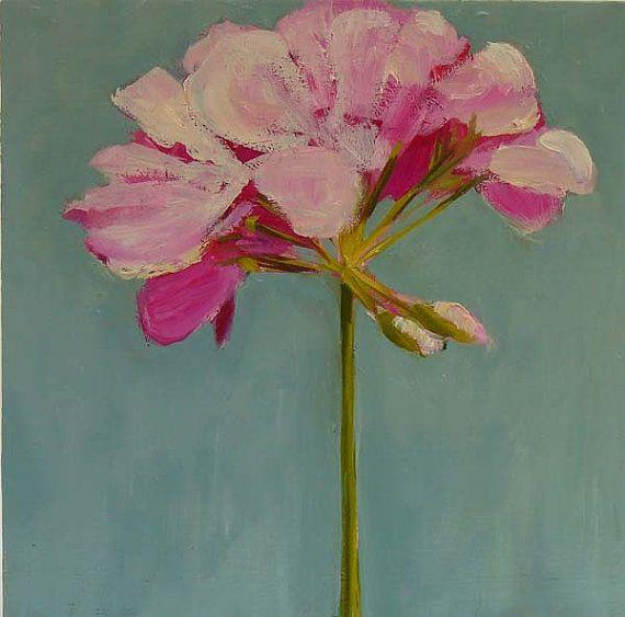 """H. Oomen: """"Geranium"""", oil on wood panel."""