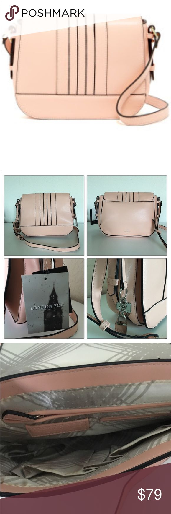 """🆕LONDON FOG BAG Adjustable shoulder strap. Foldover flap with magnetic closure. Faux leather construction. Interior features zip wall pocket, slip wall pocket, and 2 media pockets. Approx. 8"""" H x 10"""" W x 4"""" D. Approx. 21-23"""" strap drop. Faux leather exterior, textile lining. London Fog Bags"""
