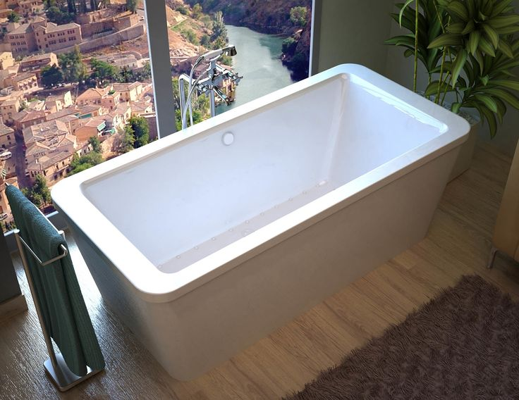 "Buena 66.7"" x 32"" Rectangular Freestanding Air/Whirlpool Jetted Bathtub with Center Drain"