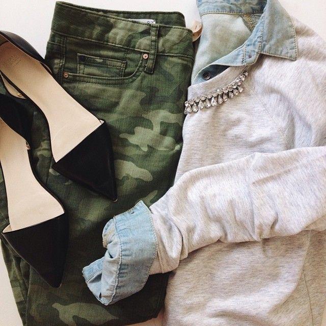 Camouflage skinny pants | camo | light chambray shirt | cardigan | black flat | feminine | edgy outfit
