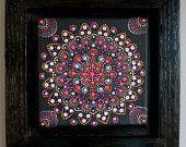 Artículos similares a Punto pintura acrílico miniatura Original arte Mandala en Etsy