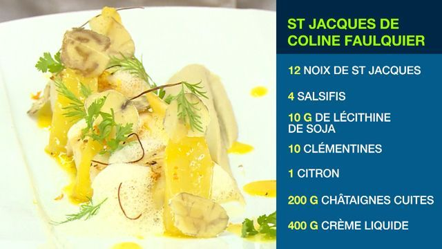Chaque jour, un ancien candidat de Top Chef vous propose une recette pour vos repas du Réveillon. Et mardi c'est Coline Foulquier qui a préparé des Saint-Jacques, aux clémentines et aux salsifis.