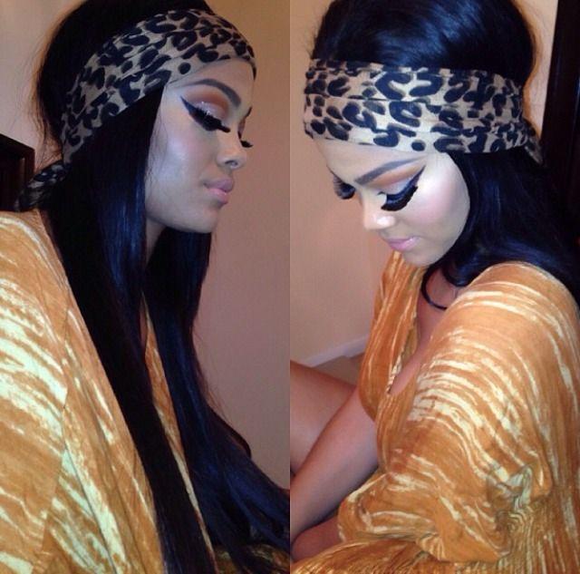 black straight boho hair leopard headband drag stripper makeup lashes contour bronzed cheeks