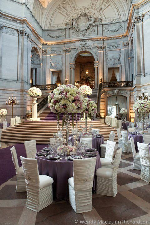 Elegant. San Francisco. Champagne and Caviar Dreams.I love the purple tablecloth,with the beige and white accents.