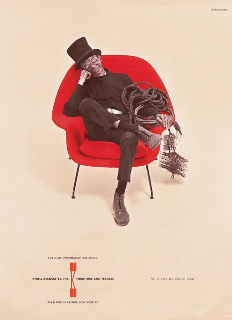 Herbert Matter, Knoll --- An ad of a chimney sweep in Eero Saarinen's Womb chair, which ran on the inside front cover of the New Yorker's anniversary issue every year from 1958 to 1971.