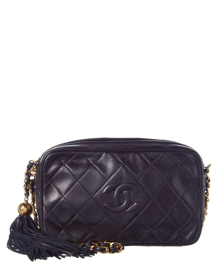 CHANEL Chanel Navy Quilted Lambskin Leather Medium Cc Camera Bag'. #chanel #bags #shoulder bags #leather #lining #