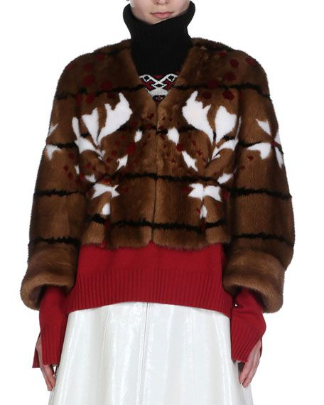 FENDI Shibori Mink Fur Cape Jacket, Brown. #fendi #cloth #