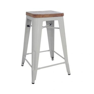 INTERIOR $109 Vintage Metal Cafe Bar Stool Timber Seat - Xavier Pauchard Reproduction - 65cm - White - Milan Direct