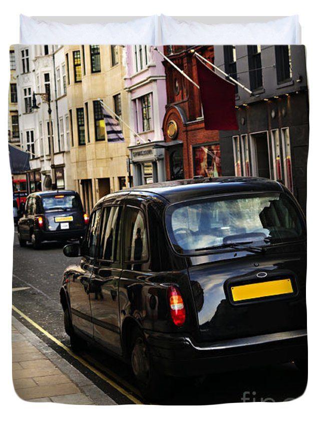 "London taxi on shopping street Queen (88"" x 88"") Duvet Cover"
