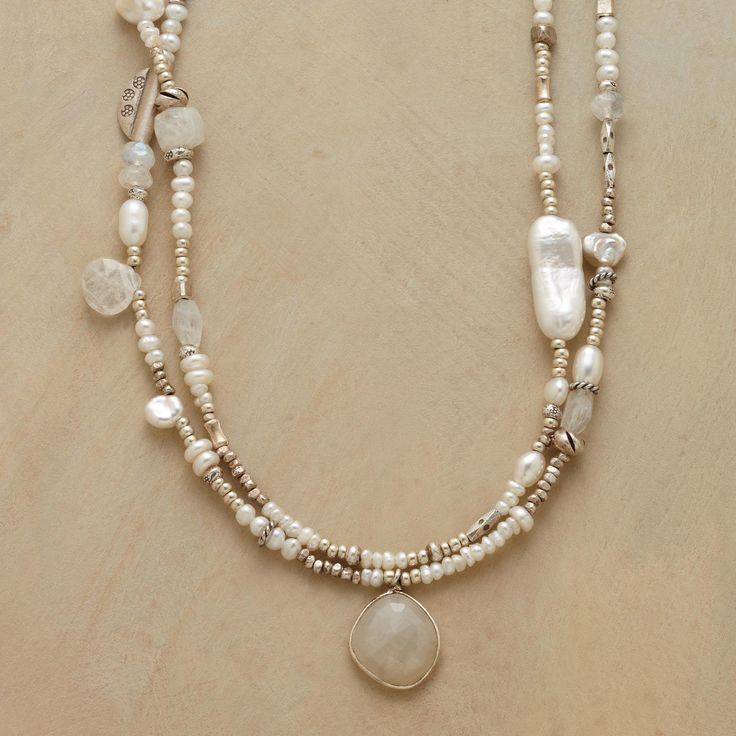 """MODERN GIRL'S PEARL NECKLACE--The timeless allure of pearls gets a present-day spin in a modern girl's pearl necklace that combines the milky luminescence of moonstone with lustrous freshwater pearls and shimmering sterling silver accents. Handmade in USA exclusively for Sundance. Lobster clasp. 17""""L."""
