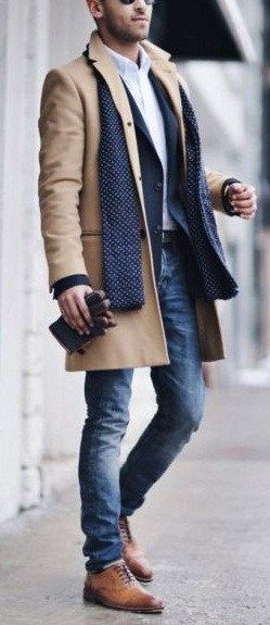 Overcoat with denim