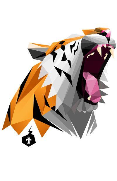 TML polygon tiger ROAR!!! Art Print