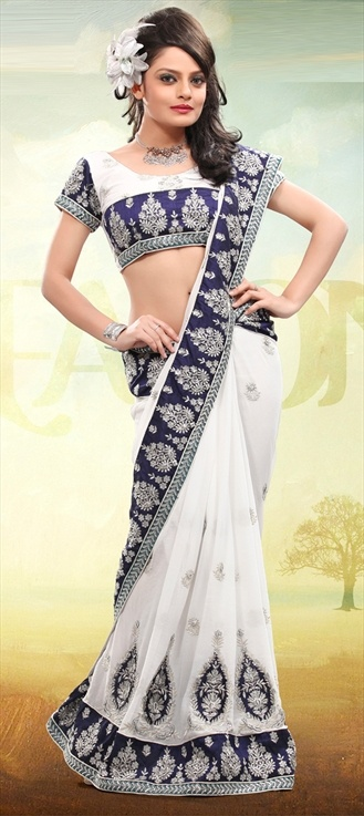 Blue white sari