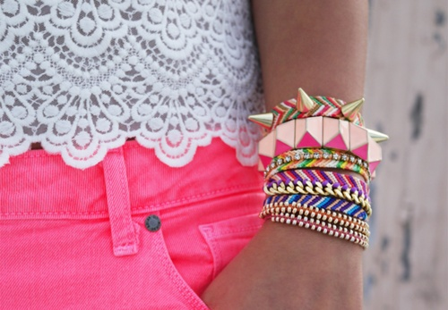 : Pink Shorts, Arm Candy, Lace Tops, Fashion, Spikes, Color, Stacking Bracelets, Armcandi, Friendship Bracelets