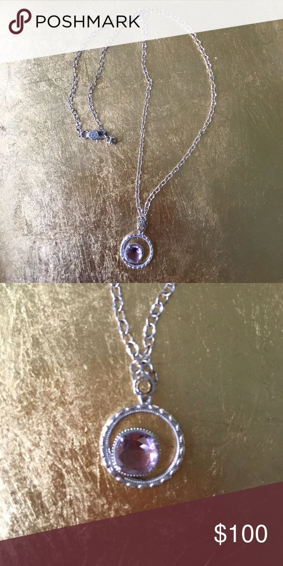 Tacori Silver Necklace with Purple Stone This never worn Necklace is a fantastic gift for the lady that loves purple stones.  I have the original drawstring bag if you'd like to gift. Tacori Jewelry Necklaces