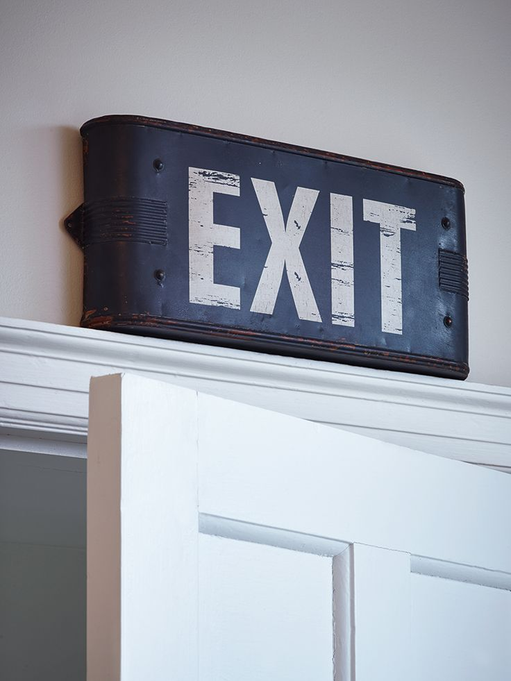 Add a touch of retro-style to your teen's room with this rustic vintage style Exit sign. Made from lightweight metal with an industrial finish and cream printed letters, display this large rustic sign over a door or on a wall to add a retro twist to their room.
