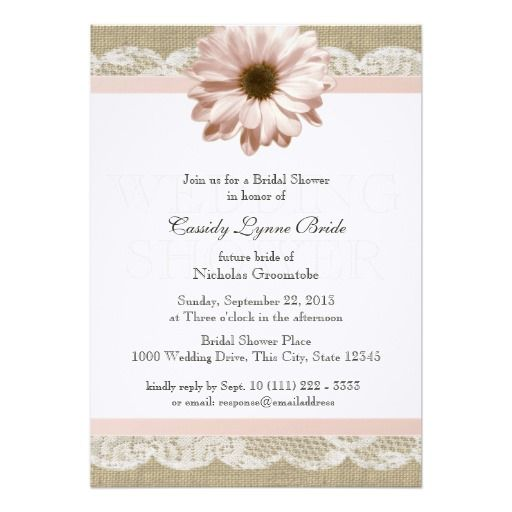 blush daisy country lace wedding shower 5x7 paper invitation card - Daisy Wedding Invitations