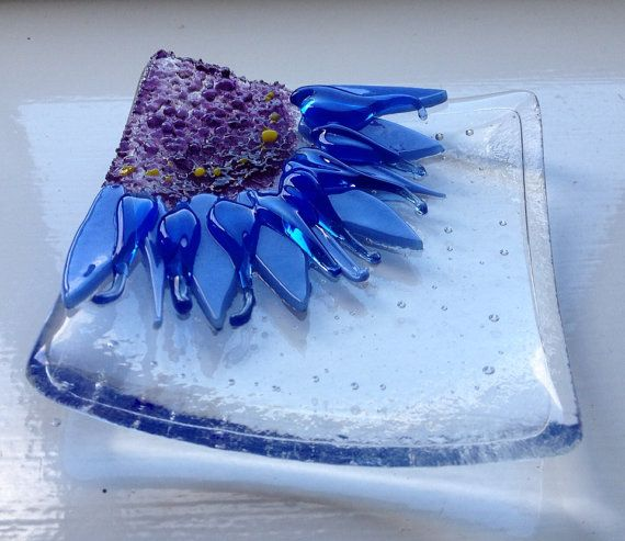Cornflower Fused Glass Trinket Bowl on Etsy, $21.47  **would have loved this piece flat and floated in a frame. Beautiful composition.
