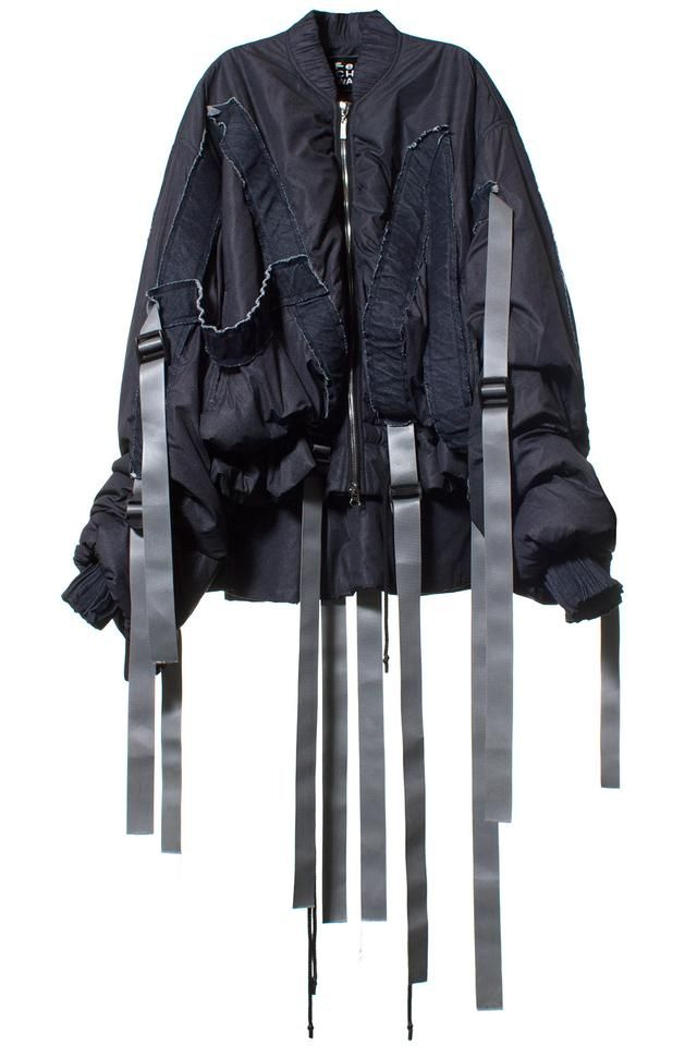 FENG CHEN WANG DIGITAL PRINT OVERSIZED JACKET Navy, zip up, oversized jacket with strap and gather detailing. Made in China. Fabric: 100% polyester, burdening: 100% cotton, lining: 100% polyester. SIZE & FIT Oversized fit. FENG CHEN WANG Futurism, functionalism   translating the anatomical into the sartorial - Beijing.