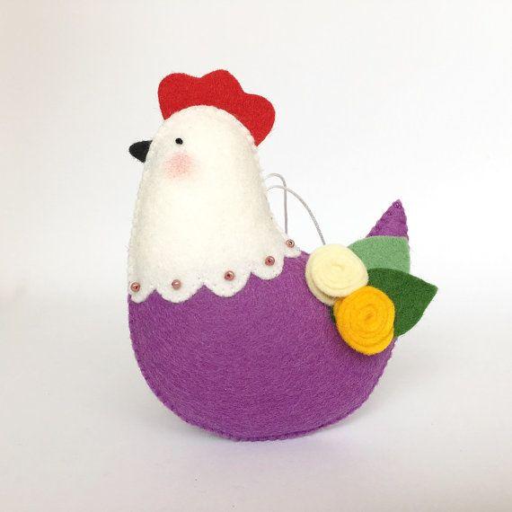 Uccello di decorazione di Pasqua gallina viola di UnBonDiaHandmade