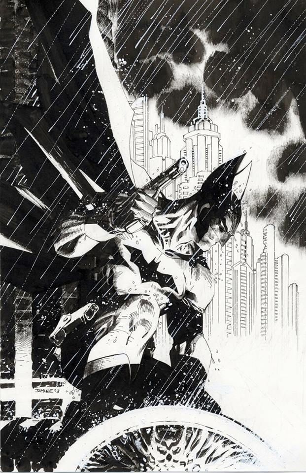 Batman by Jim Lee: My penciled/inked variant cover for Detective #27. Cowl, gloves & handgun a throwback to Batman's original look! (DC comics)