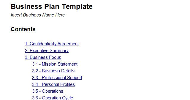 Sample of a simple business plan