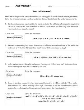 Area and perimeter word problems worksheets with answers