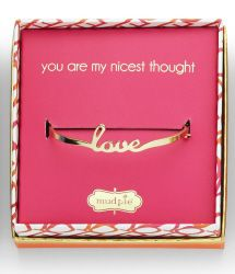 Gold plated bangle has script sentiment and arrives packaged in a decorative gift box. bridesmaid gifts