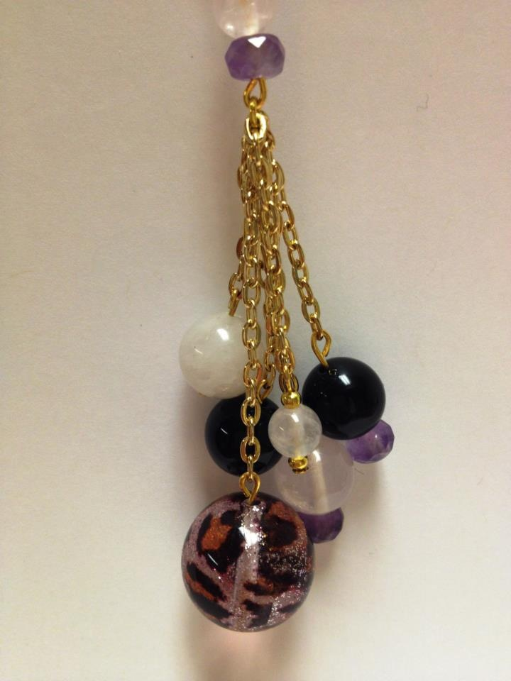 """Qittah Cluster Collana""  Pink Leopard Transparent Sparkle Murano Glass Bead  Onyx  Rose Quartz  Amethyst Stones  18kt Gold Plated Chain  $50.00"