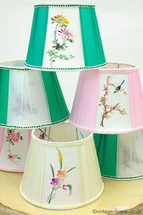 Vintage Home Shop - Assorted Vintage Hand Painted Silk Lamp Shades:  www.vintage-