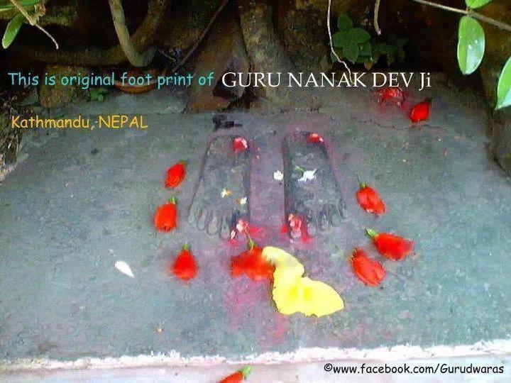 Guru Nanak Dev's original footprints in Kathmandu, Nepal.