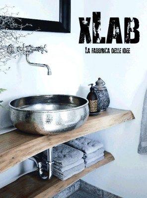 Mensola piano lavabo sospeso in legno massello 130x50x6