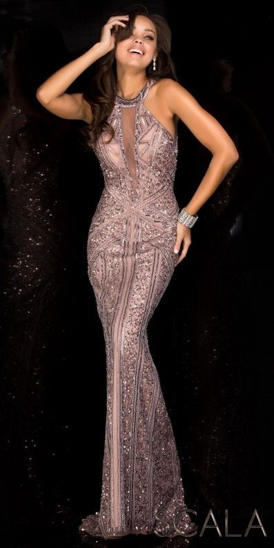 Scala Plunging Illusion Open Back Sequin Prom Dress  26842bf6b