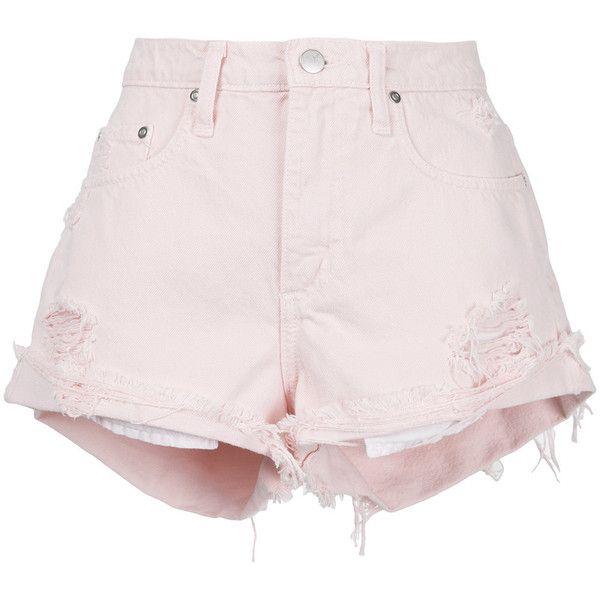 Nobody Denim Mondo Blushing shorts (2.012.990 IDR) ❤ liked on Polyvore featuring shorts, pink short shorts, relaxed shorts, frayed shorts, cuffed shorts and boho shorts