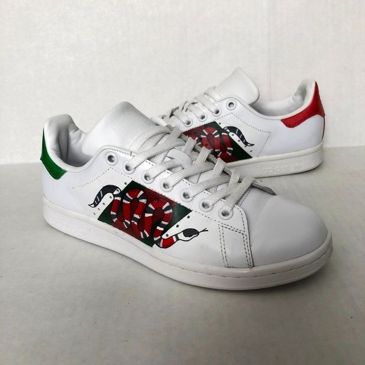 Adidas Original Stan Smith Sneakers Size 6 US Customs Hand Painted Snake White #adidas #FashionSneakers