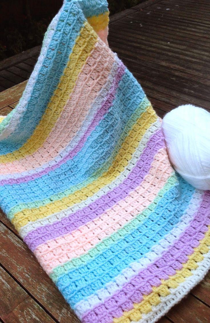 [Free Crochet Pattern] Adorable Block Stitch Baby Blanket