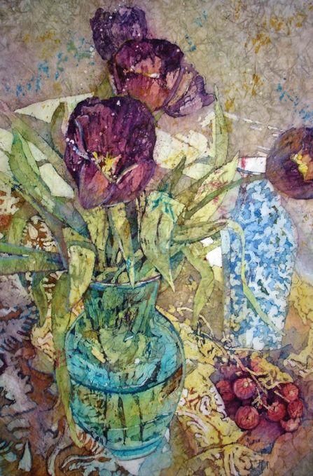 Batik technique watercolor painting