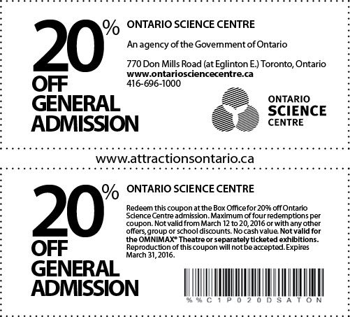 Ontario Science Centre - 2015 Summer Coupon