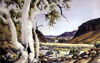 Albert Namatjira, Heavy Tree Gap, Central Australia, watercolour, signed lower right, 34.5 x 52.5 cm
