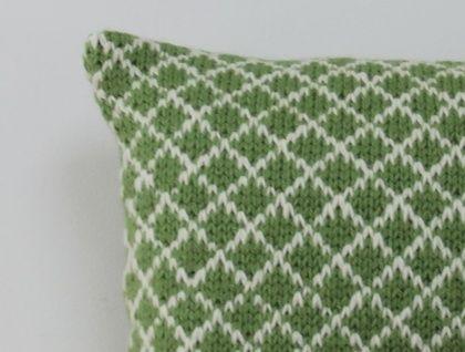 Green and Cream Trellis Cushion