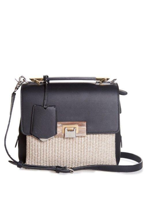 Balenciaga Le Dix Soft leather and raffia bag | Available at MATCHESFASHION.COM